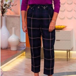 Topshop Pink Plaid Navy Ankle Pants NWT